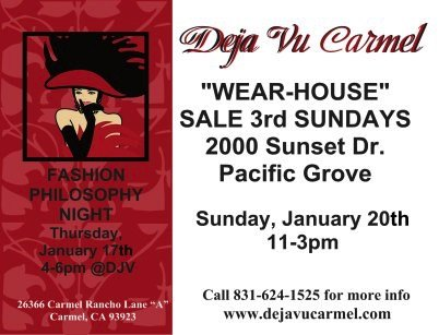 "Deja Vu Carmel flyer for upcoming ""Wear-House"" Sale on January 20th, 2019 from 11-3pm"