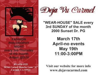 """Deja Vu """"Wear-house"""" sale March 17th, 2019"""